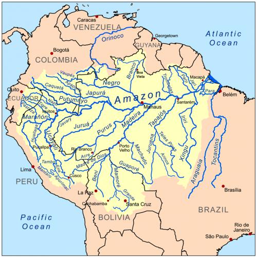Amazonka - nejdelší řeka na světě - tok Amazonky
